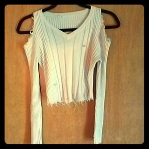 Tops - Knit distressed cold shoulder top